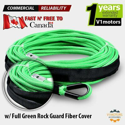 "50' x 1/4"" 7000 LB Synthethic Winch Rope Line Cable ATV UTV w/ Rock Guard Green"