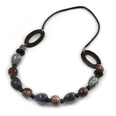 Avalaya Wood//Shell Bead Cord Necklace 70cm L Brown//Black