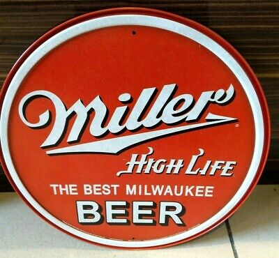 "Miller High Life Beer , Round Vintage-Style 12"" Steel/Metal Wall Sign, Usa"