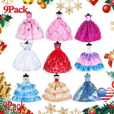 9PCS Doll Wedding Party Dress Princess Clothes Handmade Outfit for 12in Dolls.