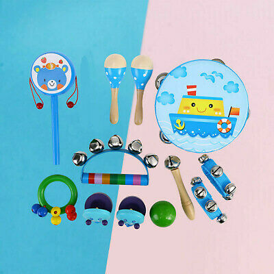 Wooden Baby Musical Percussion Toys Instruments Set Drum Kit Toddlers Kids