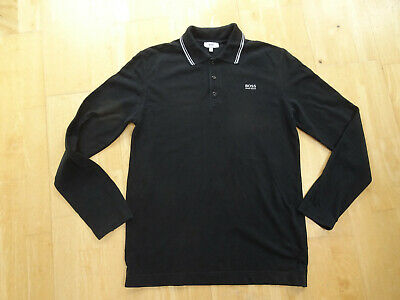 HUGO BOSS boys black long sleeve polo top AGE 15 - 16 YEARS AUTHENTIC EXCELLENT