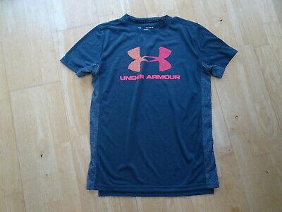 UNDER ARMOUR boys dark grey print t shirt top AGE 11 - 12 YEARS EXCELLENT COND
