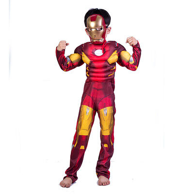 Boys Deluxe Iron Man Costume Marvel Avengers Superhero Child Fancy Dress Outfit+