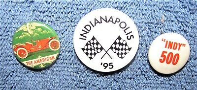 3 Indy 500 Pin Back Buttons