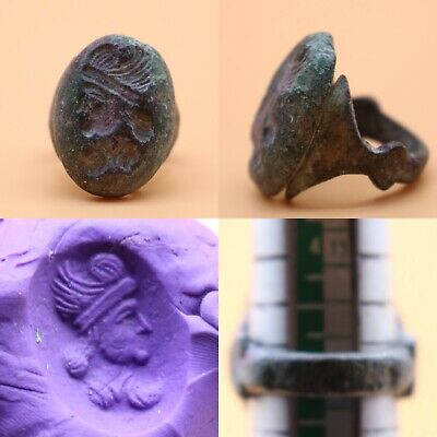 Very Rare Ancient Roman-Byzantine King Face Carved Into Ring, Antique