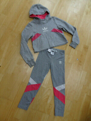 ADIDAS girls 2 piece jumper leggings set grey pink AGE 9 - 10 YEARS EXCELLENT