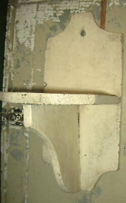 Charming Antique Primitive Wall Shelf, Candle Stand Great Form Old Paint Aafa Nr