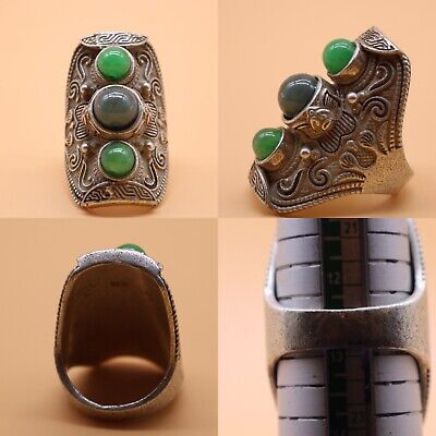 Lovely Rare Tibetan Ancient Silver Ring With Natural Stones