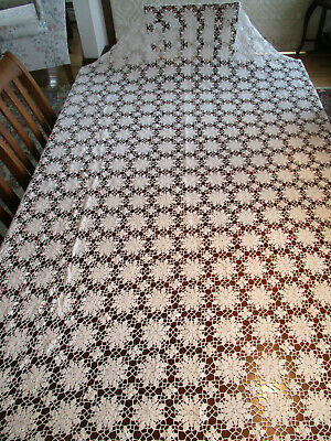 "Hand Crocheted White Tablecloth 58""x 85"" Made in Maine, Vintage, Very Elegant"