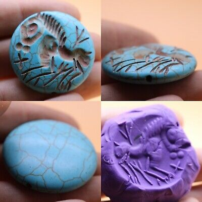INCREDIBLE !! Wonderful Ancient Near Eastern Torquise Horse Intaglio Bead