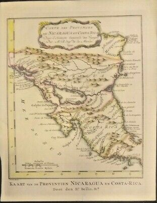 Extremely Rare Map Of Nicaragua And Costa Rica 1752-1754 Genuine Frameable