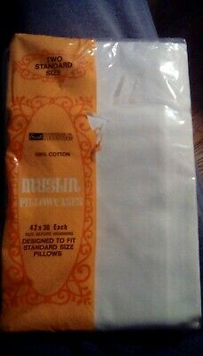 NEW Vintage 2 Standard Pillowcases Muslin 100% Cotton White