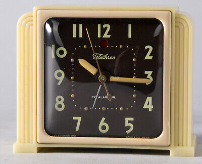 Art Deco Moderne Machine Age Telechron Glow In The Dark Electric Clock 1940s NR!