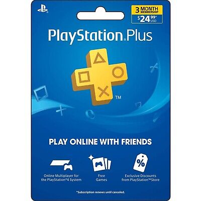 PlayStation Plus 3 Month Membership Subscription Card (USA Region) digital code