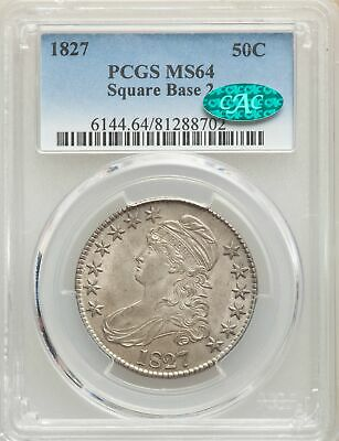 1827 US Silver 50C Capped Bust Half Dollar-Square Base 2 - PCGS MS64 - CAC