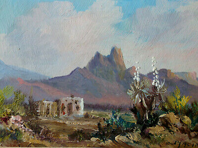 A D Macintyre (1890-1953) Listed Arizona Artist Minature Desert Painting ExCond