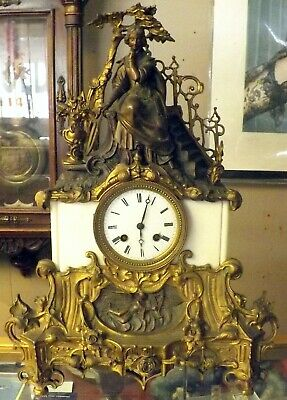 19Th Century Vincenti Medaille D'argent French Figural Mantle Clock
