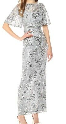 Adrianna Papell Gray Womens Size 4 Sequin Floral Lace Gown Dress $279 811