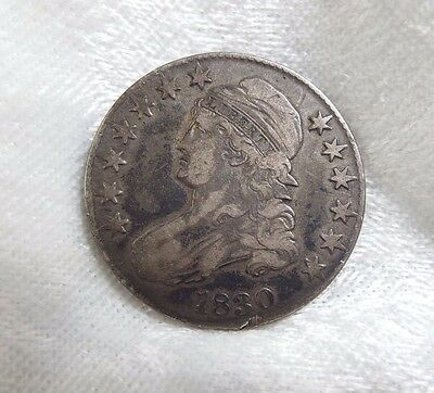 1830 Capped Bust/Lettered Edge Half Dollar VERY FINE Silver 50-Cents