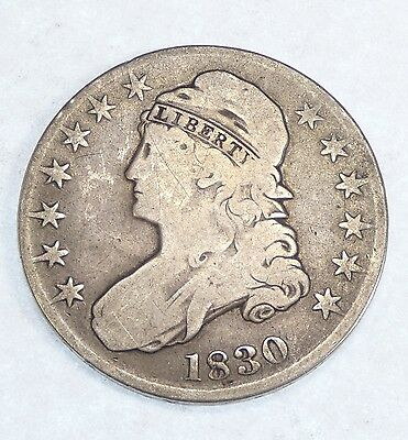 """1830 SMALL """"0"""" Capped Bust/Lettered Edge Half Dollar GOOD Silver 50c"""