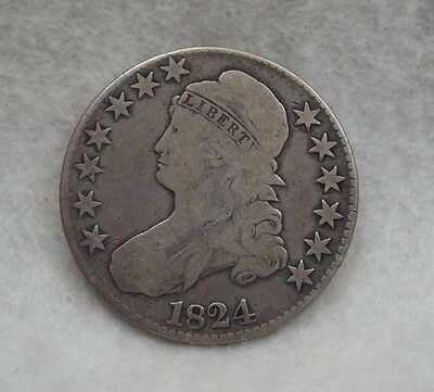 1824 Capped Bust/Lettered Edge Half Dollar VERY GOOD Silver 50c