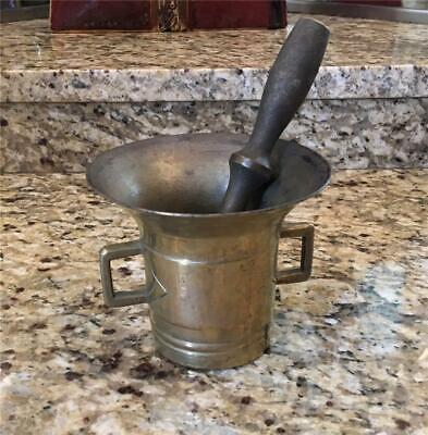 Antique Brass Or Bronze Mortar And Pestle Heavy 3 1/2 Lbs Apothecary Medicine