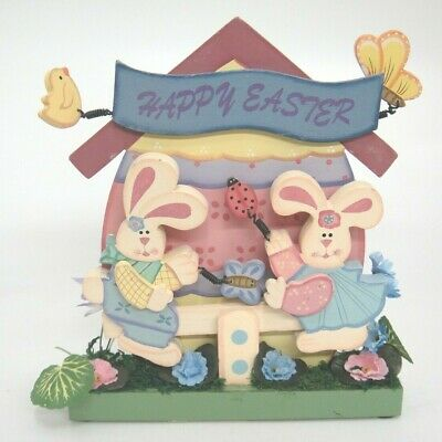 Happy Easter Wooden Egg House Bunny Rabbits on Teeter Totter Butterflies Chick