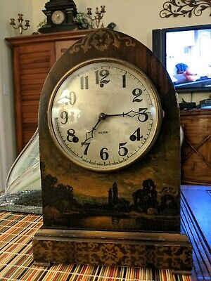 Antique GILBERT Beehive Hand Painted Landscape Cathedral MANTLE Wind-up CLOCK