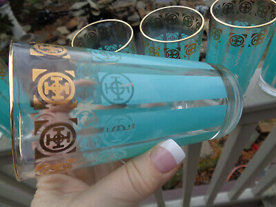 7~Mid~Century Fred Press High Ball Tumbler Turquoise Stripe Gold Glasses