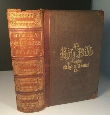 Antique 1875 HITCHCOCK'S COMPLETE ANALYSIS OF THE HOLY BIBLE Map & Engravings