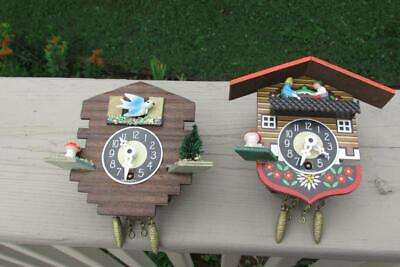 2 Small Germany Cuckoo Clocks-Plastic/Wood-For Parts-Blue Bird-Works-No Keys