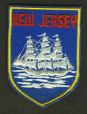 Vintage New Jersey Clipper Ship Embroidered Cloth Souvenir Travel Patch