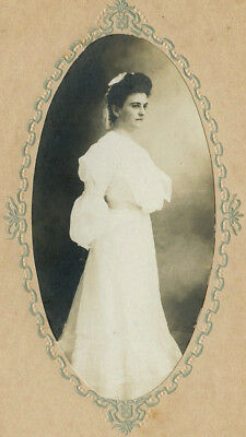 Antique Vintage Photo Cabinet Card BEAUTIFUL YOUNG WOMAN FASHION CLARINGTON OHIO