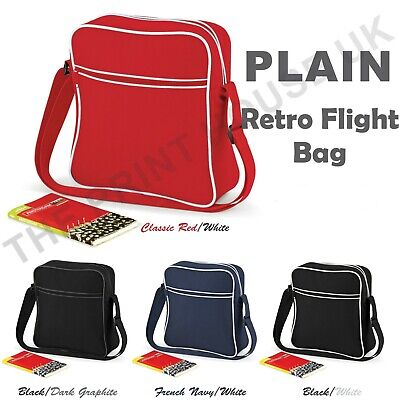 Bagbase Plain Retro Flight Bag Shoulder Messanger Travel Unisex School Bag