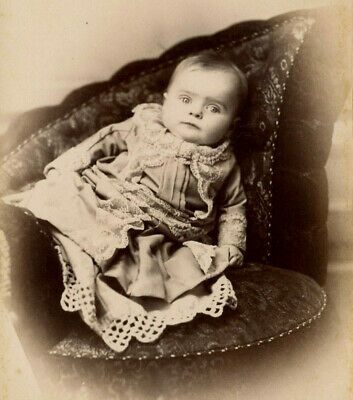 Antique Photo Cabinet Card CUTE LITTLE BABY FASHION  by HESS PICTON