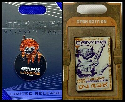 Disney Parks 2 Pin Lot STAR WARS Galaxy EDGE Landing Limited Release + Cantina