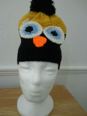 girls owl hat great to help you keep warm this winter mustard and black L@@K