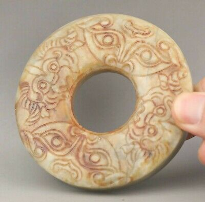 Chinese old natural hetian jade hand-carved statue dragon pendant 3.1 inch