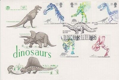 Gb Stamps First Day Cover 1991 Dinosaurs Plymouth Rares Collection