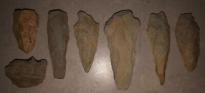 Authentic Native American artifact arrowheads Spearheads SC - 7 Piece Lot.
