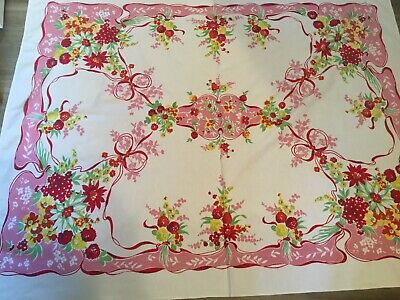 Vintage Printed Tablecloth, Flowers, Leaves, Pink, Cranberry, Green, Yellow