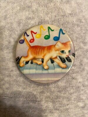 Lisa Frank Vintage Button Cat Walking On Piano Rainbow Quarter Notes