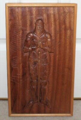 Arts & Crafts Carved Wooden Knight Templar Picture - Medieval/Gothic