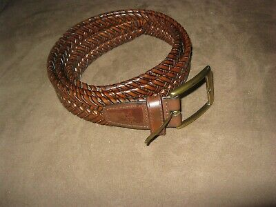 vintage Dockers Mens 1 3/16 Inches Brown Leather strap Braided Belt brass buckle