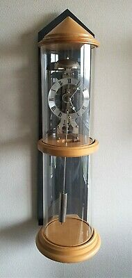Hermle Skeleton Clock Germany Glass Cylinder Chime Wall Clock Rare Model.