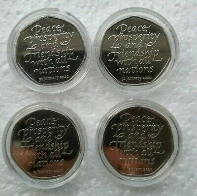 Brexit 50p coin X4 brand new Uncirculated coins from sealed bag.