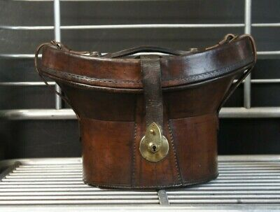 Beautiful Antique Leather Top Hat Hatbox & Top Hat