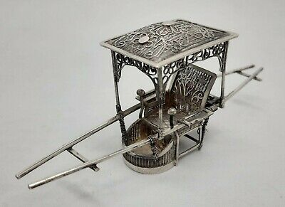 Antique Chinese Solid Silver Filigree Model Of Sedan Chair