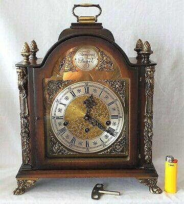 Westminster Mantel Clock Rare Wide 8 Day Key Wind German Made By Gewes 1964